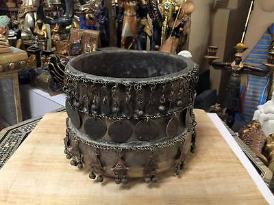 Vintage Bedouin Siwa Old Brass Bowl and real Coins Hand 1907