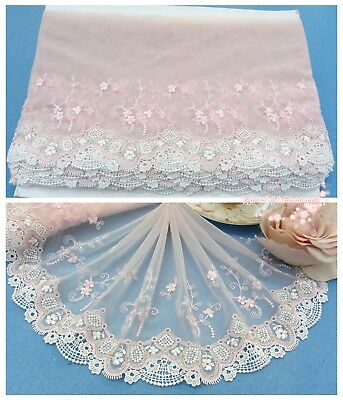 "7""*1Y Embroidered Floral Tulle Lace Trim~Light Pink+White+Gold~Fairy Princess~"