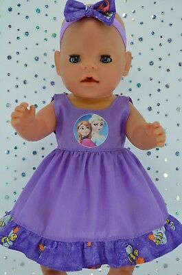 "Play n Wear Doll Clothes To Fit 17"" Baby Born PATTERN/LILAC DRESS~HEADBAND"