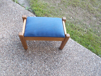 1950-60s VINTAGE WOODEN/WOOD FOOTSTOOL FOOT STOOL BLUE PADDED MATERIAL -STORAGE