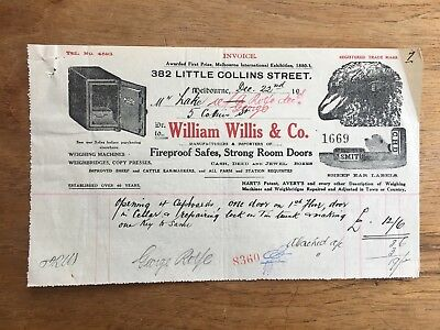 1921 William Willis & Co Melbourne Fireproof Safes, Strong Rooms Receipt F104