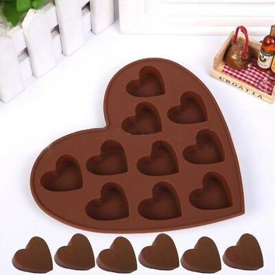 10*heart shaped silicone Mold Cake baking Mold Chocolate Ice Jelly and More DJ8X