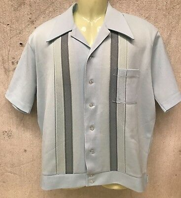 RARE Vintage 1950's Polyester BOWLING SHIRT Collared Short Sleeve Button Up MOD