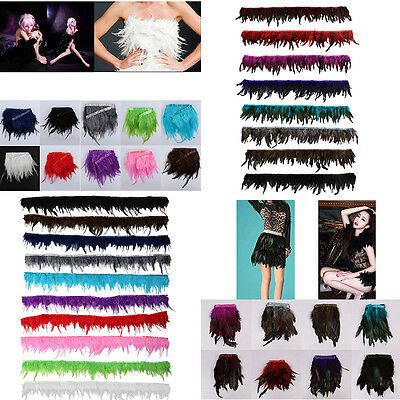 US Rooster Hackle Coque Feather Fringe Craft Trim Sewing Dress Costume Millinery