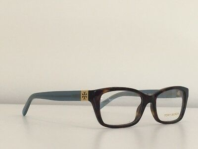 47c13600f5de4 12 Tory Burch TY 2049 1359 Rectangle Havana Blue Gold Eyeglasses Frame  51 17