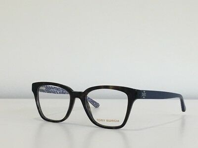 16e73b737f24 68 Tory Burch TY 2052 1348 Rectangle Havana Navy Blue Eyeglasses Frame  49*18*