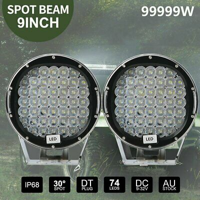 Pair 9inch 99999W Round Black LED Driving Lights Off Road 4x4 Spotlights HID