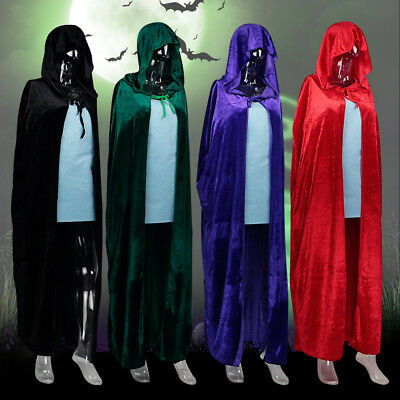 Halloween Costume Hooded Velvet Cloak Medieval Pagan Witch Vampire Wicca Cape