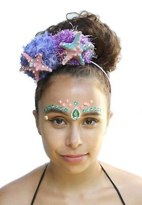 Mermaid Pom Pom Pastel Starfish Shell Crown Headband Festival Boho Headdress