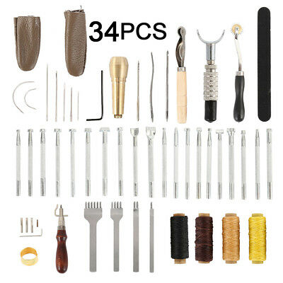 34Pcs Leather Craft Tools Sewing Stitching Punch Carving Work Saddle Groover Kit
