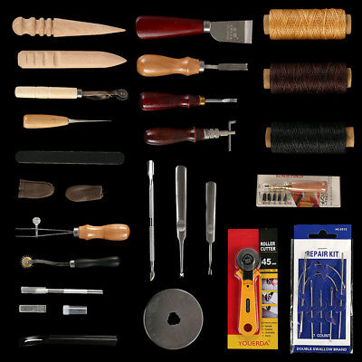 25pc Leather Craft Tools Hand Stitcher Sewing Stitching Punch Carving Saddle Kit