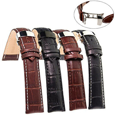 Fashion Leather Watch Band Strap 18-24mm Stainless Steel Butterfly Clasp Buckle