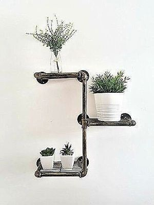 Vintage 3 Tier Pipe Shelves Rustic Industrial Urban Chic Wall Mounted Storage