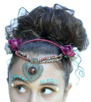 Psytrance Ethnic Hippy Head Chain Crown Headband Festival Flower Rose Headdress