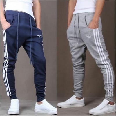 AU Mens Gym Slim Fit Trousers Tracksuit Bottoms Skinny Joggers Sweat Track Pants