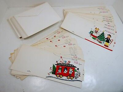 CHRISTMAS CARDS, Lot of 50 Unused, Vintage 1950s, 2 diff. styles, tanned w/ age