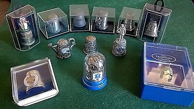 Collection of 9 Pewter and 3 Silver Plated Thimbles inc Mrs Tiggywinkle RNLI