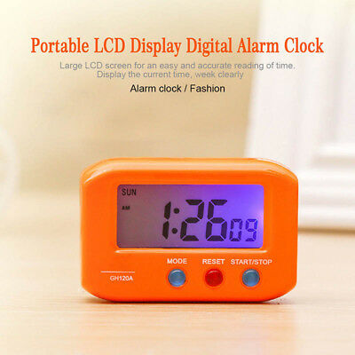 Portable Small LCD Digital Time & Date Alarm Clock Night Light  Room Clocks