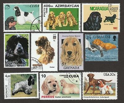 AMERICAN COCKER SPANIEL ** Int'l Dog Postage Stamp Collection **Unique Gift**