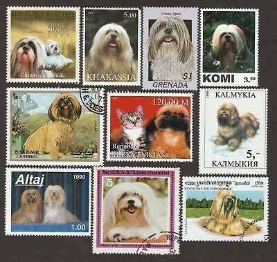ON SALE!!  LHASA APSO **Int'l Dog Postage Stamp Collection ** Unique Gift **