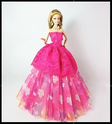 New Barbie doll clothes outfit princess wedding dress gown pink evening dress.