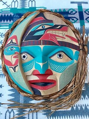 First Nations Northwest Coast Wolf Crescent Moon Mask