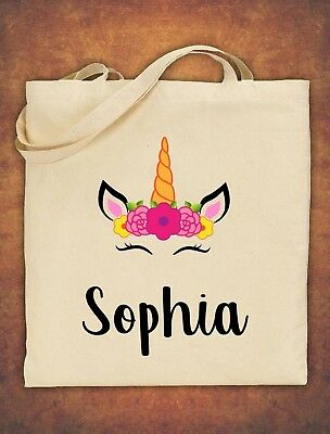 Kids Personalised Any Name Unicorn Girls Tote Bag children's Cotton Natural