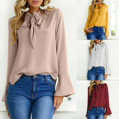 Women Plus Size Top T Shirt Tee Bow Tie Solid Basic Loose Office OL Work Blouse