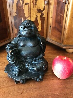 OLD CHINESE WOOD & LACQUER CARVING OF BUDAI HAPPY BUDDHA 15cm