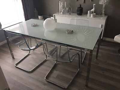 Set Of 4 Ikea Tobias Clear Plastic Dining Room Kitchen Chairs 50 00 Picclick Uk