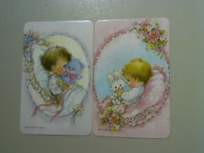 2 Single Swap/Playing Cards - Pair Cute Babies with Soft Toys(Blank Backs)#