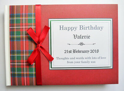 Scottish Theme Red Tartan Personalised Birthday/retirement/wedding Guest Book