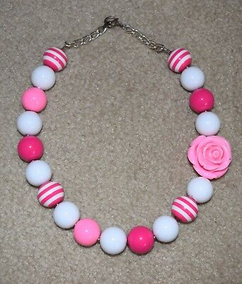 Baby Toddler Girls Bubblegum Pink White Chunky Necklace Birthday Photo Prop EUC