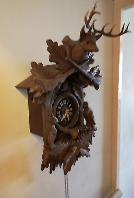 Vintage German Twin Weight Cuckoo Clock rare to find this size 17 by 12 hinches