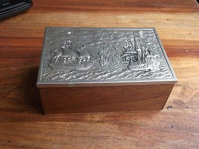 lovely little wooden box with metal lid and embosed sailing ships