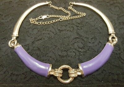WOMENS VINTAGE gold & purple chunky adjustable statement NECKLACE! LOVELY!