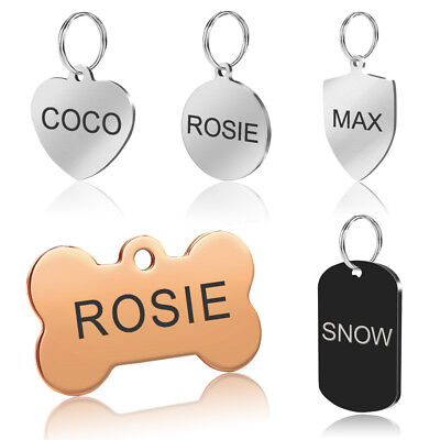 Stainless Steel Pet Dog Tags Personalized Disc Engraved ID Name Phone Address