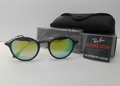 9b7a7585c7 Authentic Ray Ban Sunglasses RB2447 901 4J Black Frames Green Mirrored Lens  49mm