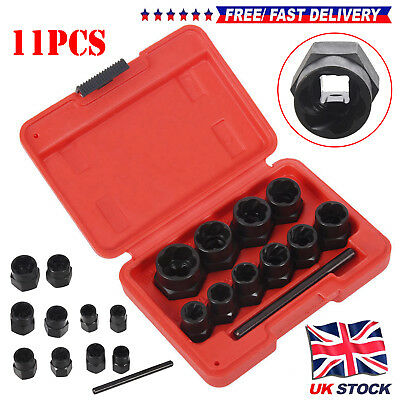 Locking Wheel Nut Removers 11pc Nut Bolt Stud Extractor Twist Socket Set UKME