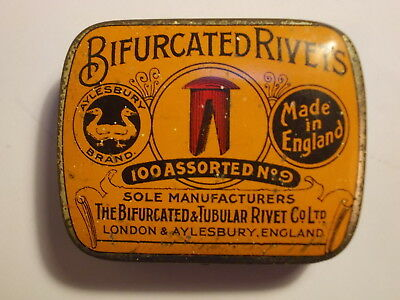 Old Bifurcated Rivets Tin with some Content. VG