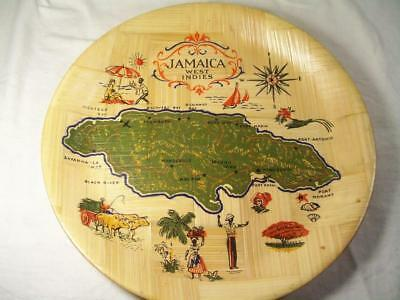 vintage Jamaica West Indies woven bamboo tray souvenir marked unbreakable NOS
