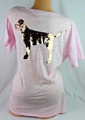 Victoria's Secret Pink Shirt Rose Gold Blink Sequin Dog Logo Short Sleeve F238
