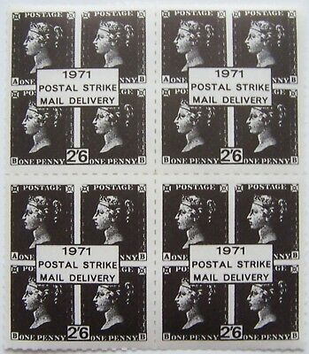 Great Britain - 4 Mini Sheet Penny Black, Postal Strike mail delivery 1971