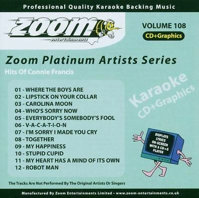 Zoom Karaoke Platinum Artists Series Volume 108 Hits Of Connie Francis CD+G New