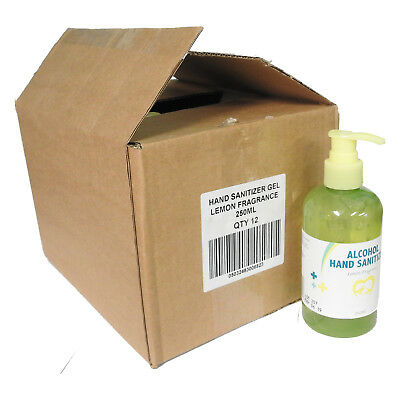 Full Box of 12 Lemon Fragranced Cleansing Alcohol Hand Sanitizer Gel Pump 250ml