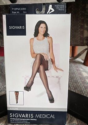 Sigvaris 712PMLW99 Allure 20-30 Compression Pantyhose M/L Black