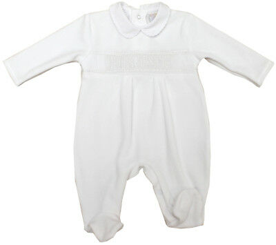 Baby Boys Girls Romany Spanish Style White Velour Embroidered Babygrow Romper