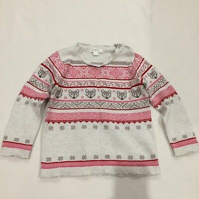 Purebaby Girl's Pink Fox Wool (20%) Mix Knitted Jumper Size 3