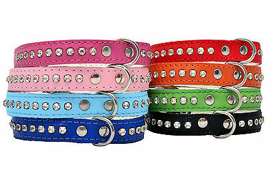Cuir Véritable Chien Chiot Chat Chaton Colliers Cristal Bling Diamante Strass