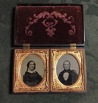 Double Ninth Plate Union Case with Two Extremely Sharp Ambrotypes of Couple